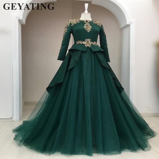 0d4743bf92667 Emerald Green Muslim Evening Dress with Long Sleeves Gold Lace Appliques  Beaded Crystal Moroccan kaftan Dubai Prom Formal Dress