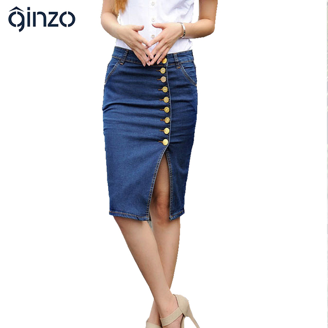 Women's plus large size knee length package hip skirt Lady's buttons pencil denim skirt Female Free shipping