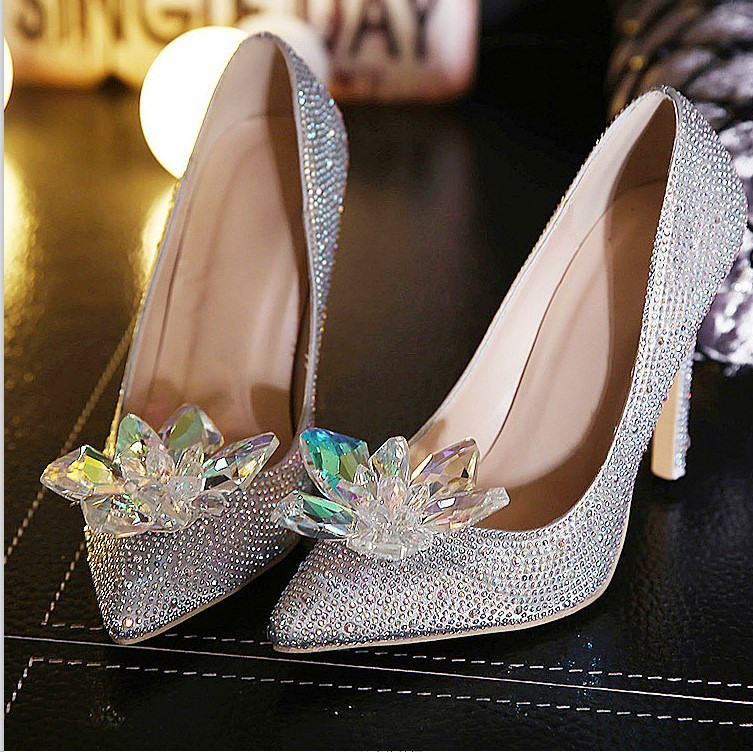 Size 4 9 Cinderella Wedding High Heels Women Pumps Silver Crystal Shoes Zapatos Mujer Chenk Foot Length In S From On