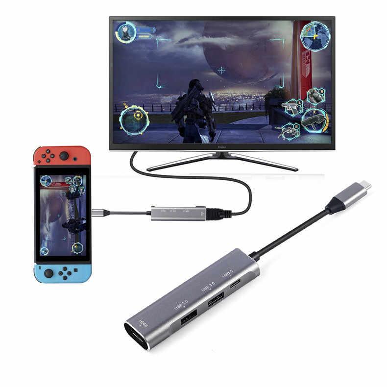 USB C PD Charger Hub Multi Port Type C Combo Hub voor MacBook naar HDMI 4K Ethernet, USB 3.0 Poorten
