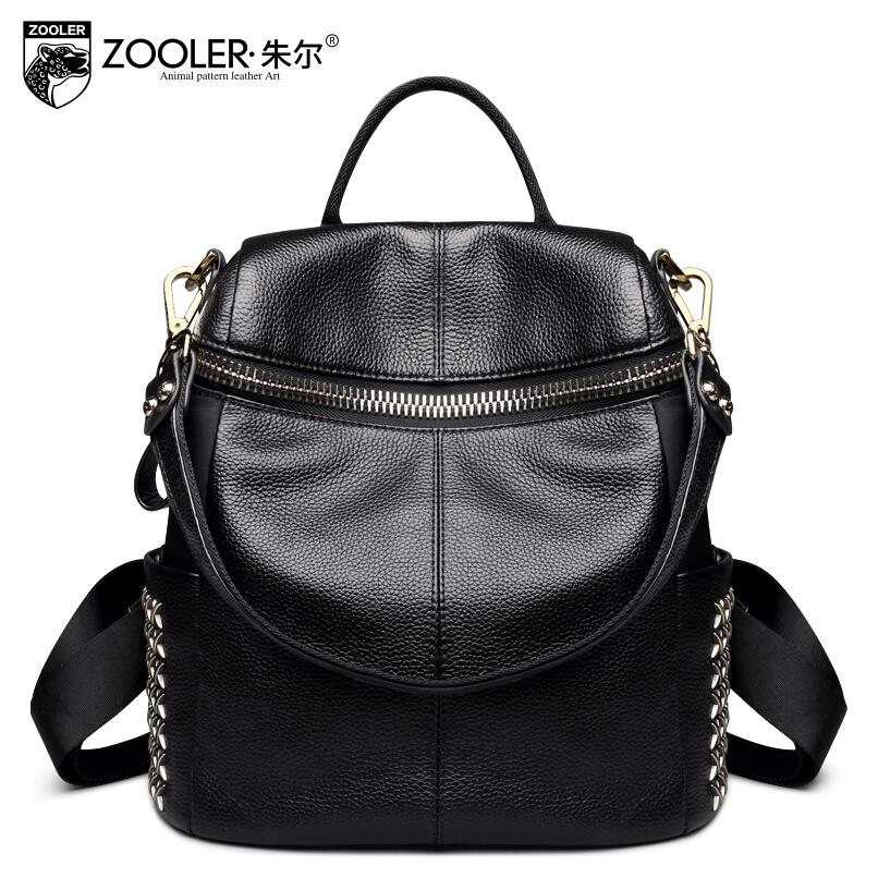 2017 New zooler Superior cowhide with nylon simple women genuine leather backpack fashion rivet leisure women famous brands