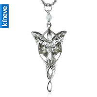 Kineve LOTR Plated Arwen Evenstar Pendant High Quality Free W/ Long Chain Festival Christmas Gift for Girlfriend Daughter Wife