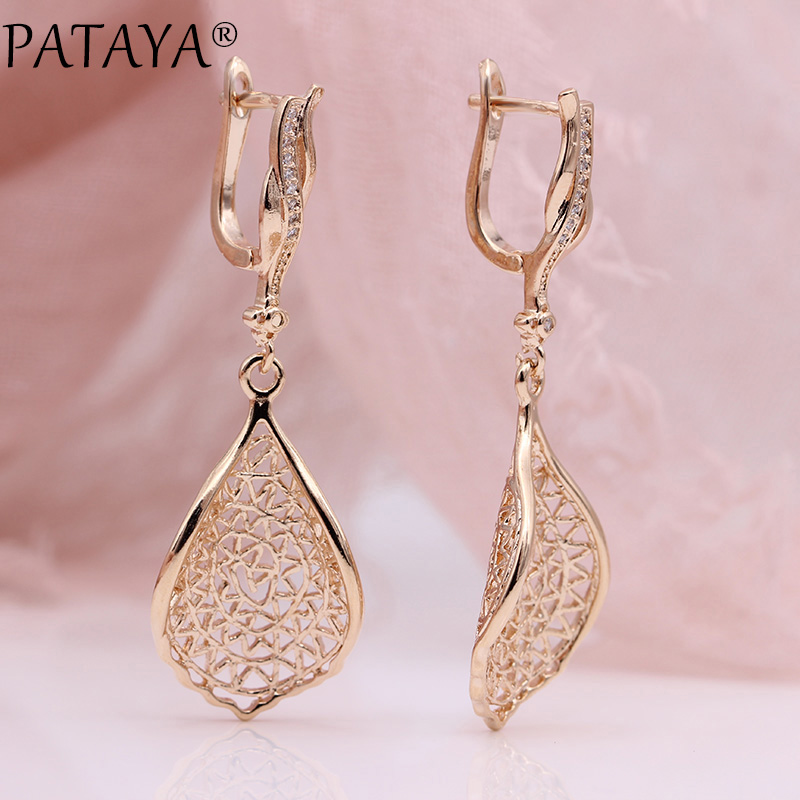 PATAYA New Gift Trendy 585 Rose Gold White Gold Natural Zircon Long Earrings Women Wedding Hollow Irregular Wave Earring Jewelry 2