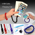 New Bead Bracelet USB Cable Micro Wristband Charging Cables Data Sync Charger Cord for Android Phone Samsung S6 S7 iPhon6 100pcs