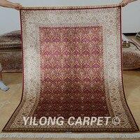 Yilong 4'x6' Традиционный Ковер Ручной Работы Красный фонарь дизайн антикварная вещь Шелковый коврик (0697)