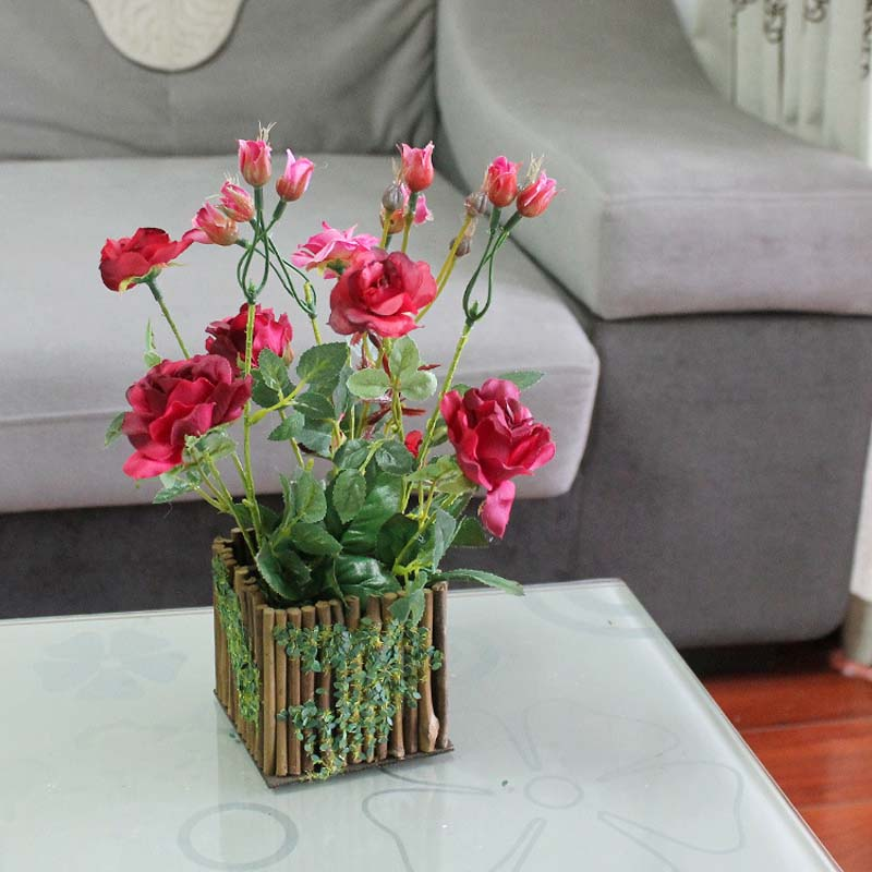 Artificial Potted Flowers,Fake Silk Roses Bouquet In Decorative