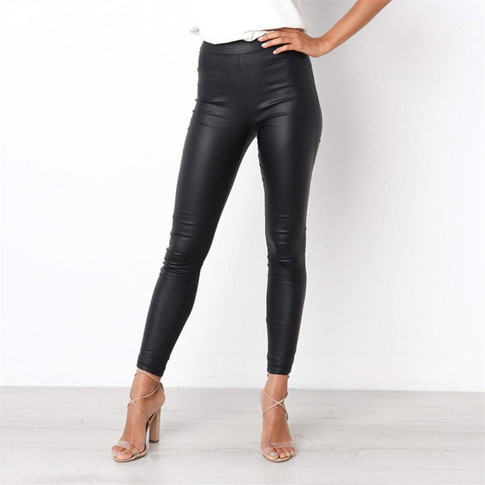 Fashionable Women   Leggings   Plus Size Lady's Stretch Comfort Pants   Leggings   For Fitness Modis Casual High Waist Faux Leather Pant
