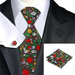 Бренд Привет-галстук C-1255 печати галстук комплект Цветочный Для мужчин s Галстук Ханки Запонки Комплект для Для мужчин свадебные Бизнес