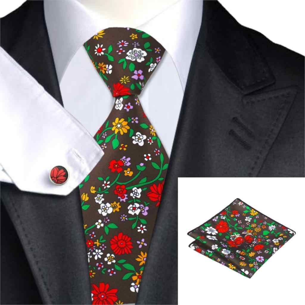 Marque Hi-Tie C-1255 impression cravate ensemble Floral hommes cravate Hanky boutons de manchette ensemble pour hommes mariage affaires costume gilet et Blazer