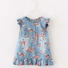 Imprimer robe pour fille Jean robes denim fleur vêtements pour enfants loisirs styles robe 2015 bébé D'été Marque