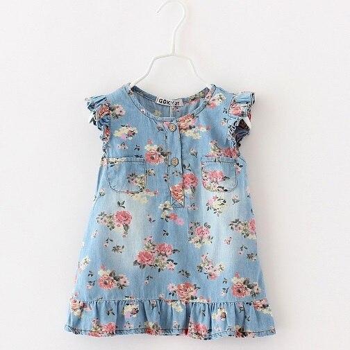 Print dress for girl Jean dresses denim flower clothing for children leisure styles dress 2015 Summer toddler Brand