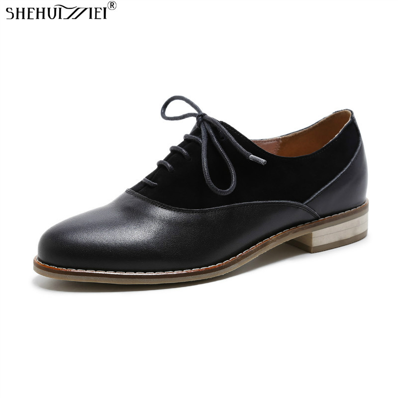 SHEHUIMEI Genuine Leather Flat Shoes Woman Handmade Black 2018 Spring Vintage Round Toe British Oxford Shoes for Women Flats xiuningyan vintage british style oxford shoes for women genuine leather flat shoes women us size13 handmade black leather shoes