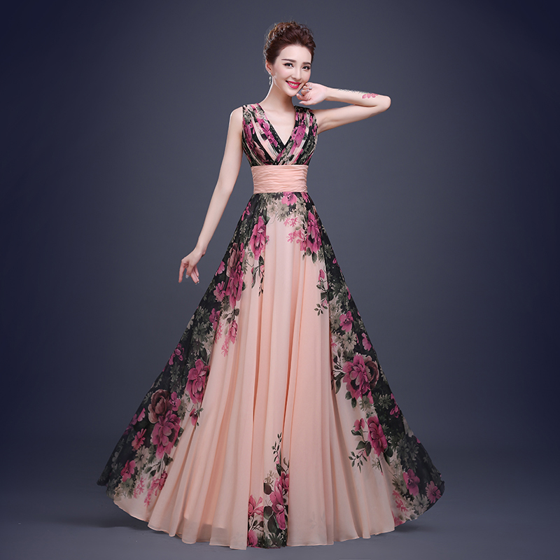 Flower Pattern Floral Print Chiffon Prom Dress Gown Party Long ...