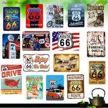 Новые Стиль Route 66 доска винтажные металлические жестяные знаки домашний бар гараж украшения потертый шик открыть для себя Америка наклейки на стену WY2