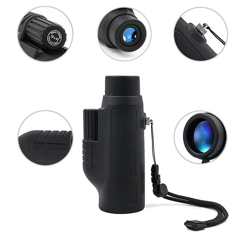 Professional HD Monocular 10X42 Zoom vision Powerful Hunting Telescope telescopic mirror Opera Turizm Spyglasses Monoculars in Monocular Binoculars from Sports Entertainment