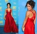 Moda con cuello en V vanessa hudgens vestidos de la alfombra roja vestidos de fiesta 2016 V cuello Criss cross de noche largo rojo vestidos celebridades 2016