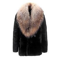 2018 New Winter Fur Coat Imitation Water Coat Armor Coat Men's Fur Coat Imitation Raccoon Fur Collar jacket Size S XXXL 4XL 5XL