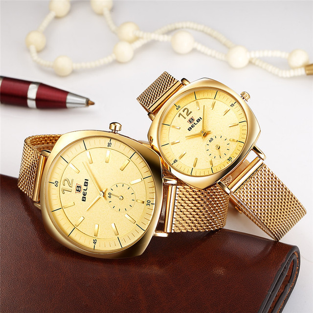 Belbi Lovers Watch Fashion Square Case with Round Dial Design Ultra-thin Steel Quartz Couple Wristwatches China Clock Brand