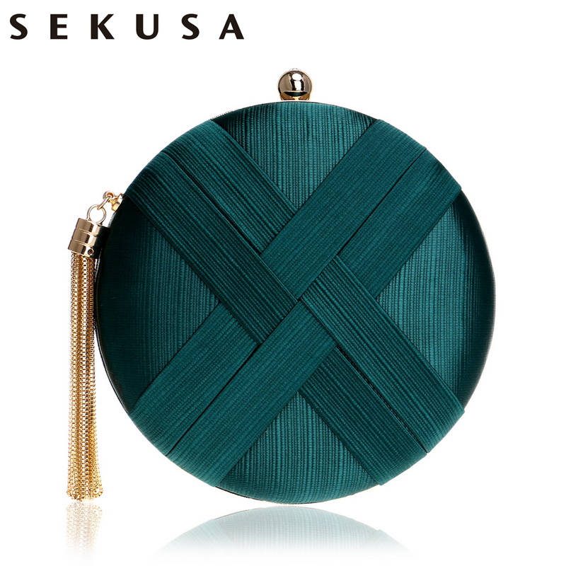 SEKUSA Fashion Women Bag Tassel Metal Small Day Clutch Purse Handbags Chain Shoulder Lady Evening Bags Phone Key Pocket Bags sekusa flower rhinestones women handbags red black purple gold chain shoulder bags metal day clutches purse wedding wallets