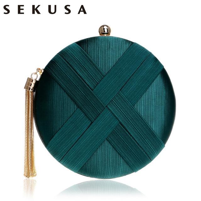 SEKUSA Fashion Women Bag Tassel Metal Small Day Clutch Purse Handbags Chain Shoulder Lady Evening Bags Phone Key Pocket Bags