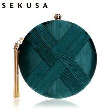 SEKUSA Fashion Women Bag Tassel Metal Small Day Clutch Purse