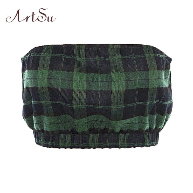 ArtSu Vintage Green Plaid Bustier Top Off Shoulder Summer Backless Cami Top Mujer Back Zipper Bralette Streetwear ASVE20241