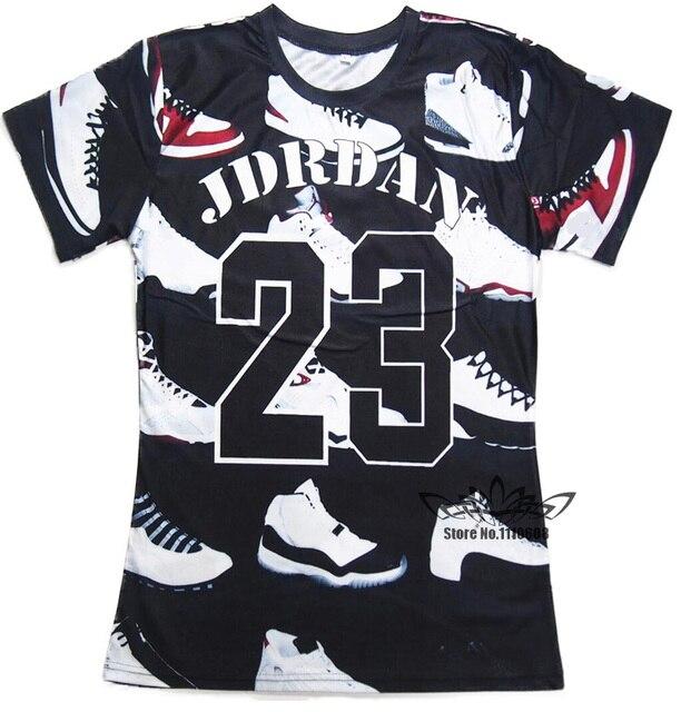 5f2d9df40fb4 2016 Summer Pure American Special Cut T Shirt Men Women JORDAN 23 Classic  Shoes Printed 3D Streetwear Hip Hop T Shirts