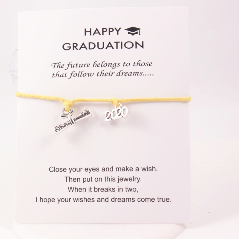 Yellow Leather Rope Bracelets 2020 Certificate Diploma Dangle Charms Adjustable Wish Card Bracelets For Student Graduation Gift in Chain Link Bracelets from Jewelry Accessories