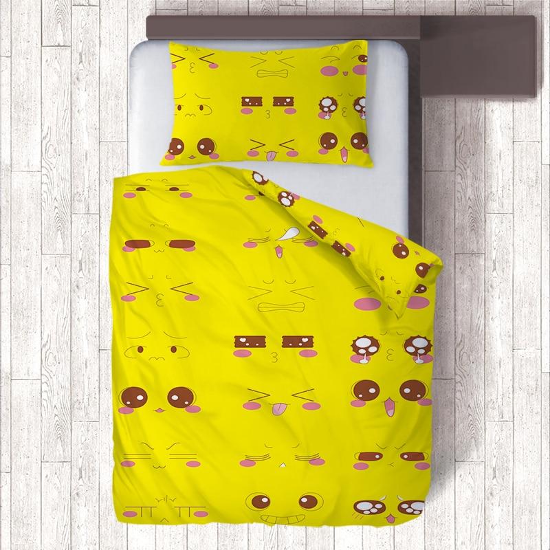 Yellow AU US RU Cartoon Cat Emoji Bedding Set,Soft Kids Duvet Cover Set Quilt Cover Pillow Cases Child Bed Set Single Bedclothes
