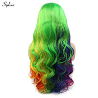 Sylvia Rainbow Color Bright Blue Green Yellow Purple Orange Synthetic Lace Front Wig for Women Cosplay Long Wavy Hair Drag Queen