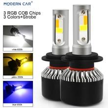 Modern Car H4 H7 LED Headlight Bulbs H11 9005 9006 COB Chips 72W 6000K Car Led H1 Auto Headlamp Headlights Led Light 12v Yellow anmingpu 2pcs 12000lm pair headlight bulbs h4 h7 led headlights h11 9005 9006 9004 9008 h1 led with cree chips 6000k car lights