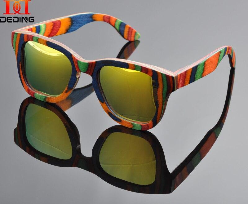 2015 Multicolored wood Sunglasses Women Natural Wood Frame Gafas de sol de madera Oculos de sol da Moda Madeira Female DD0915