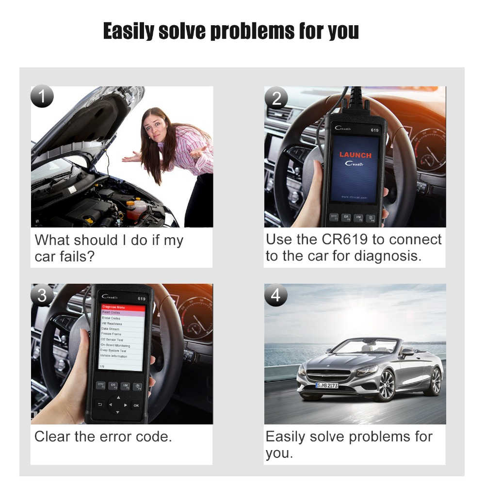 Launch CR619 Automotive Scanner OBD2 Scanner Car Full Engine System Check  ABS SRS Airbag O2 EVAP Monitor Diagnostic Scan Tool