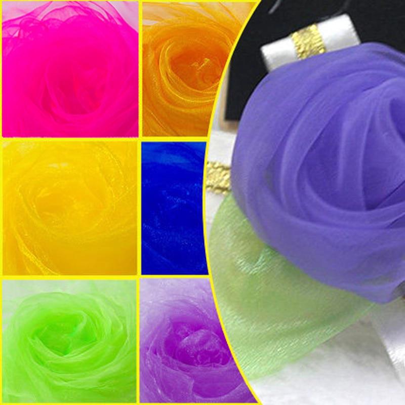 0.75m*20m Wedding Sheer Mirror Organza Fabrics For Decoration Snow Crystal Shining Organza Fabric