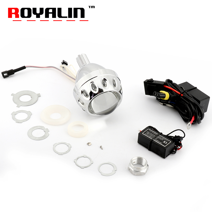 ROYALIN Motorcycle Bi Xenon Projector Lens 2.5 Headlight W/ CCFL Angel Eyes White Red Blue Yellow For H1 H4 H7 9005/9006 13a 2inch h4 bixenon hid projector lens motorcycle headlight yellow blue red white green ccfl angel eye 1 pc slim ballast