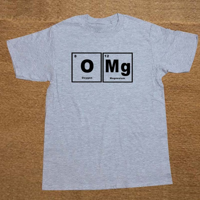 b72df2b2 OMG Element Periodic Table Chemistry Science Funny T Shirt Men Cotton Short  Sleeve T-shirt Top Tees