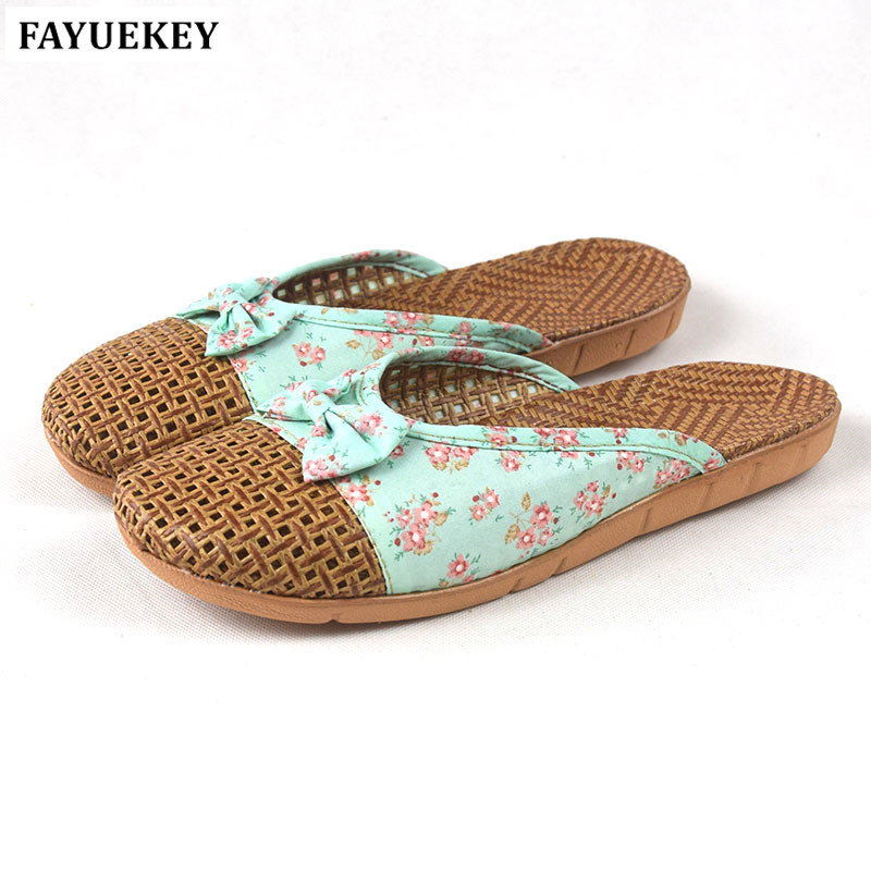 FAYUEKEY 18 New Fashion Summer Home Linen Cane Breathable Bowknot Slippers Women Indoor\Floor Beach Girls Slippers Slides Shoes coolsa new summer linen women slippers fabric eva flat non slip slides linen sandals home slipper lovers casual straw beach shoe