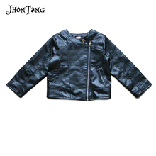 JhonTang kids clothing spring autumn children Jacket PU Leather Outerwear O-neck coat For Baby Girls Boys Costume 2-6Y