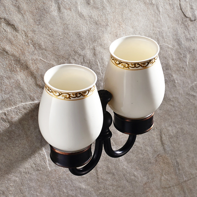 AUSWIND Antique Black Bathroom Tumblers With Ceramic Cups Bronze Brush Oil  Finish European Copper Carved Bathroom