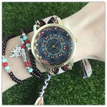 The trend of European and American leisure atmosphere Damen Bohemia simple watches  female students watch retro Hand knit art