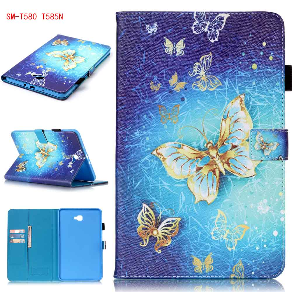 Butterfly Skull Flower Pattern PU Leather Tablet Cover Card Holder Samsung Galaxy Tab A6 10.1 2016 T585 SM-T580 T580N - ADST STORE store