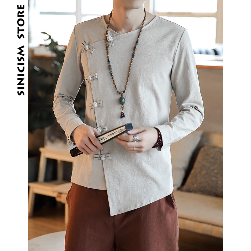 Sinicism Store Men Solid Shirts 2019 Man Cotton And Lined Long Sleeve Shirts Casual Slim Fit Male Chinese Style Plus Size Shirts
