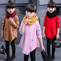 2017 spring baby girls casual pullover knitted sweater fo children pocket red pink polyester little kids winter knitwear FG031