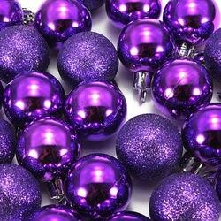 HOT SALE 24Pcs Chic Christmas Baubles Tree Plain Glitter XMAS Ornament Ball Decoration Black 2