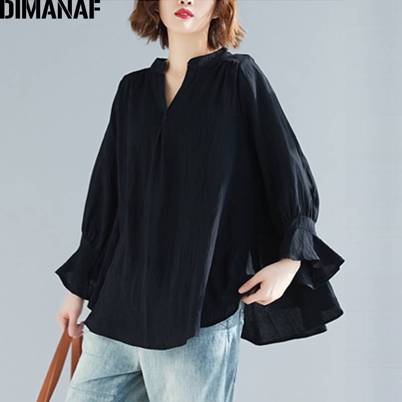 DIMANAF Plus Size Women   Blouse     Shirt   Vintage Summer Lady Tops Tunic V-Neck Female Clothes Loose Casual Long Sleeve Solid 2019