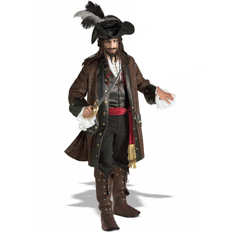 Deluxe Adult Man Pirate of Caribbean Costume Halloween Party Pirate Cosplay Fantasia Fancy Dress