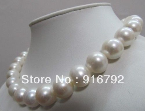 Livraison gratuite > > > > > belle AAA mer du sud 11 - 12 MM blanc perle collier 18