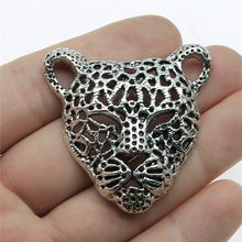 Leopard Head Charms Pendant Diy Metal Jewelry Making Antique Silver Color 1.8x1.7 inch (45x43mm) 3pcs/lot(China)