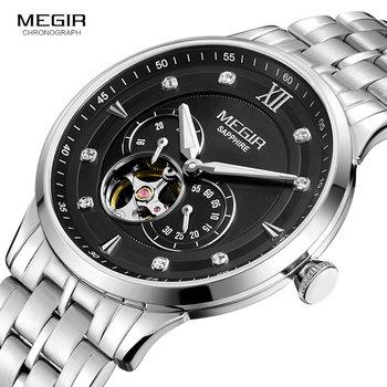 MEGIR Men's Luxury Mechanical Hand Wind Watches Stainless Steel Silver Black Wristwatch Top Brand Relogios Masculino Clock 62053