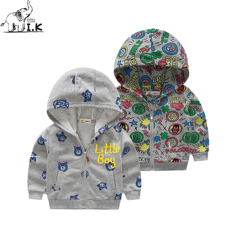 I.K Autumn Hoodies For Boy Girl 2017 Fashion Children Spring Clothing With Zipper And Cartoon Printing Cotton Kids Jacket HJ1002